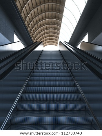 Escalators - Stairs to Modern Bright Ambient