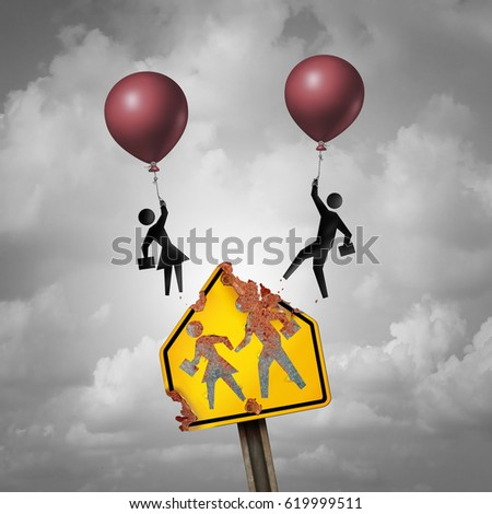 Escape a bad school education decline concept as a decaying student crossing traffic sign with kid icons with balloons as a learning issue for changing academic system with 3D illustration elements.