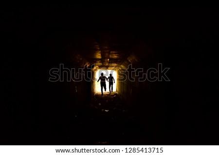 escape from the dark tunnel  Stock photo ©