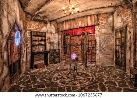 Escape room, controlled by hi-end electronics and rich in overwhelming special effects. Stock photo ©