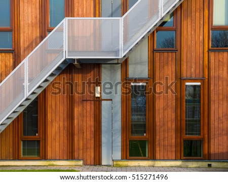 Escape stairs on a modern sustainable wooden office facade #515271496