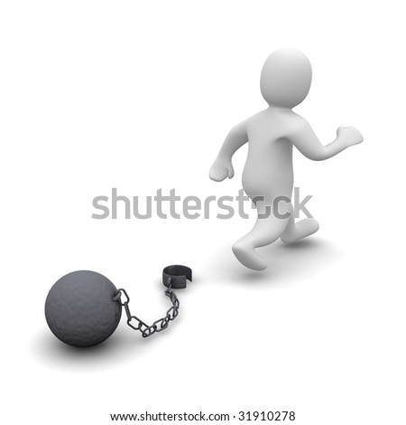 Escaping criminal. 3d rendered illustration isolated on white.