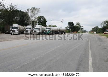 ESCARCEGA, MEXICO - JANUARY 07, 2015: Fuel truck stops for resting in a road on January 07, 2015 in Escarcega,Mexico