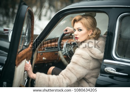 car woman fixing Vintage sexy