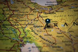 Esfahan, the city in Iran pinned on geographical map