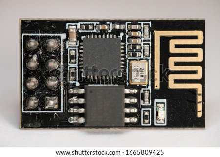 ESP8266 ESP-01 modules which are microcontroller boards used for IoT project or stem education Photo stock ©