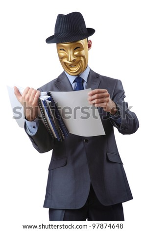 Espionage concept with masked man on white