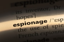 espionage word in a dictionary. espionage concept