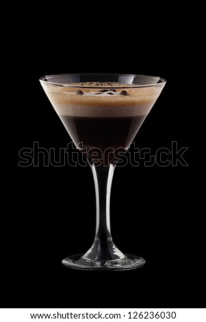 Espresso-Absinthe coctail isolated on black background