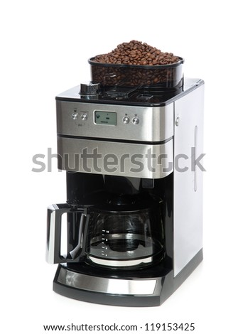 Espresso And Americano Coffee Machine Maker With Coffee Grinder On Top Isolated On A White ...