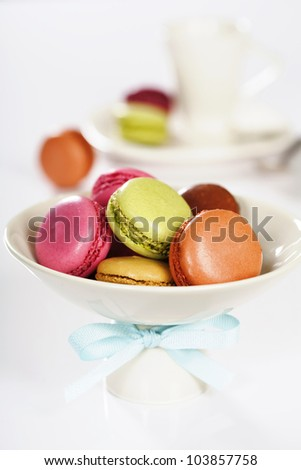 Espresso and french colorful macaroons