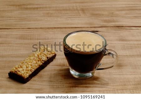 espresso and sweets. espresso coffee from espresso machine #1095169241