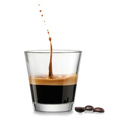 Espresso coffee glass with a drop up on white background