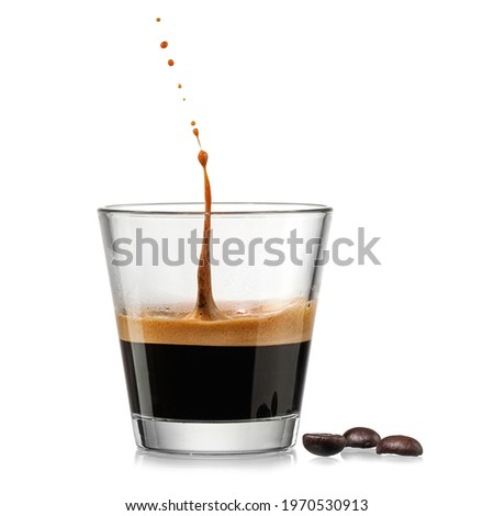 Espresso coffee glass with a drop up on white background Stockfoto ©