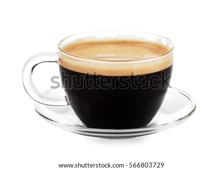 Espresso coffee in glass cup. Isolated on white background  #566803729
