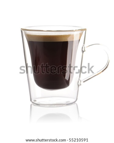 Espresso coffee isolated on white - stock photo
