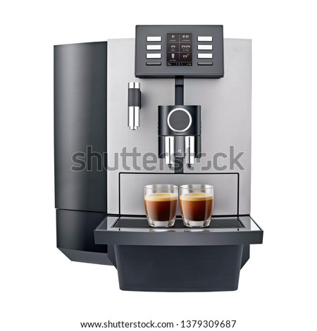 Espresso Coffee Machine Isolated on White. Side View of Stainless Steel Electric Kitchen Coffee-Maker or Automatic Coffee Maker with a Cup of Cappuccino. Domestic Household Appliances. 3D Rendering
