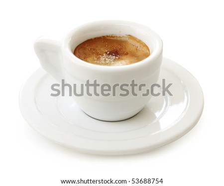 Espresso in white cup, isolated on white