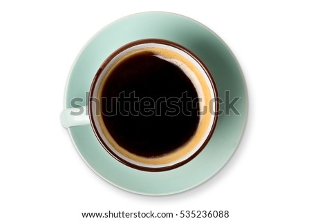 Shutterstock Espresso or americano, black coffee cup top view closeup isolated on white background. Cafe and bar, barista art concept.
