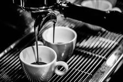 espresso shot from coffee machine in coffee shop, Coffee maker in coffee shop