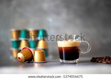Espresso shots with espresso cup #1374056675