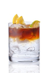 Espresso tonic in oldfashioned glass isolated on white background