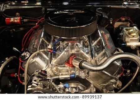 ESSEN, GERMANY - NOV 29:  V8 Motor of the Chevrolet Camaro SS from 1967 shown at the Essen Motor Show in Essen, Germany, on November 29, 2011