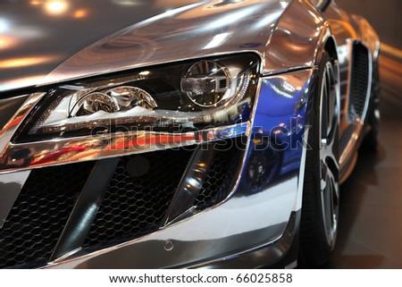 ESSEN - NOV 26: Tunes Sportscar Audi ABT R8 in silver shown on Essen Motor Show 2010 on November 26, 2010 in Essen, Germany.