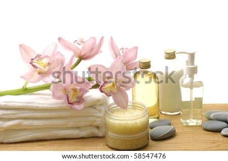 Essential body massage oils in bottles for body care