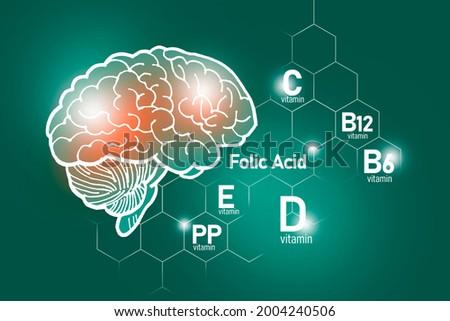 Essential nutrients for brain health including vitamin C, vitamin B, folic acid, vitamin PP. Design set of main human organs with molecular grid, micronutrients and vitamins on deep green background.