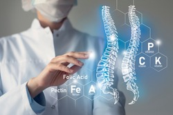 Essential nutrients for Spine health including Magnesium, Vitamin B12, Calcium, Ferrum.Blurred portrait of doctor holding highlighted blue Spine.