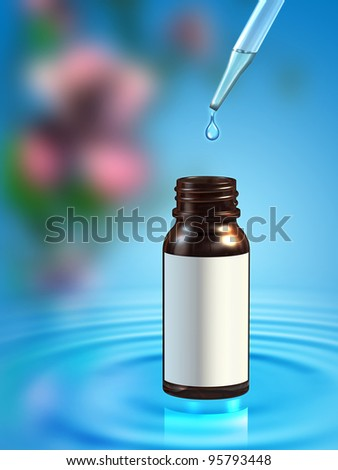 Essential oil bottle on a background with some water ripples and flowers. Digital illustration, included clipping path allows you to put your own label on the bottle.