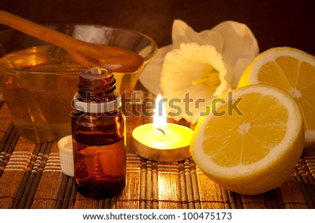 Essential oil, lemon and honey for spa treatment