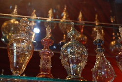 Essential oil perfume bottles on a showcase of Egypt store