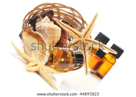 essential oils and sea products, concept of natures products.