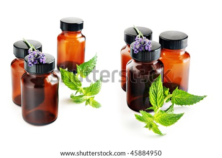 essential oils, lavender and mint - isolated on white