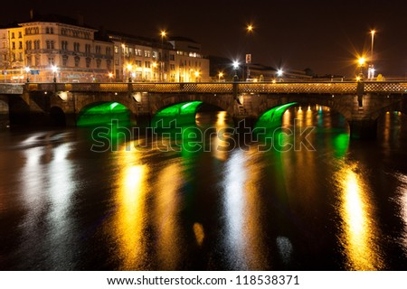Essex Bridge at night crossing Dublin's Liffey River