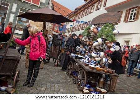 Esslingen, Germany – December 5, 2009: Horizontal shot of the lively and colorful Christmas market  #1210161211