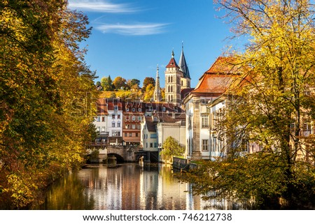 Esslingen Germany scenic view of the historic medieval town center from the maille