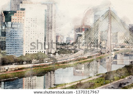 Estaiada Bridge in Sao Paulo, Brazil. Watercolor digital painting art illustration of famous place in the city.