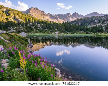 Estany Primer lake in Andorra, Pyrenees Mountains.