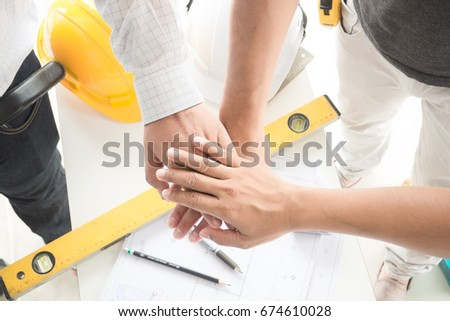 Estate agent shaking hands with customer after contract signature buy home. #674610028