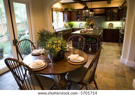 Estate Kitchen With Breakfast Table And Decor. Stock Photo 5701714 ...