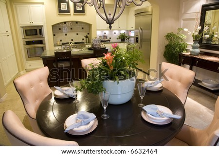 estate kitchen with festive breakfast table decor stock. Black Bedroom Furniture Sets. Home Design Ideas