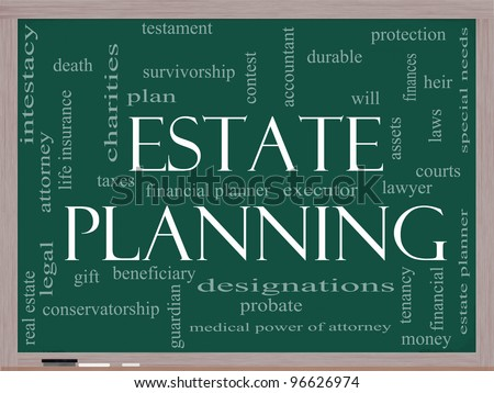 Estate Planning Word Cloud Concept on a Chalkboard with great terms such as durable, will, financials, lawyer, executor, probate and more.