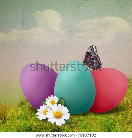 Ester illustration with colored eggs - stock photo