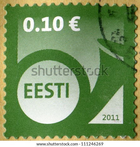 ESTONIA - CIRCA 2011: Definitive postage stamp of the Estonia in the uniform Post Horn design, circa 2011