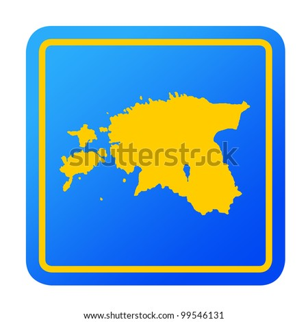 Estonia European button isolated on a white background with clipping path.