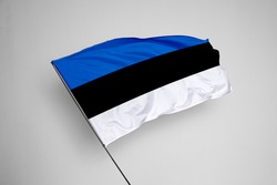 Estonia flag isolated on white background with clipping path. close up waving flag of Estonia. flag symbols of Estonia. Estonia flag frame with empty space for your text.