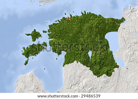 Map Of Norway And Surrounding Countries. Shaded relief map. Surrounding